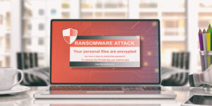 laptop with ransomware notice